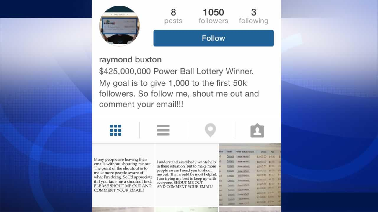 Someones been posting to Instagram claiming to be Raymond Buxton, the winner of the $425 million Powerball jackpot.
