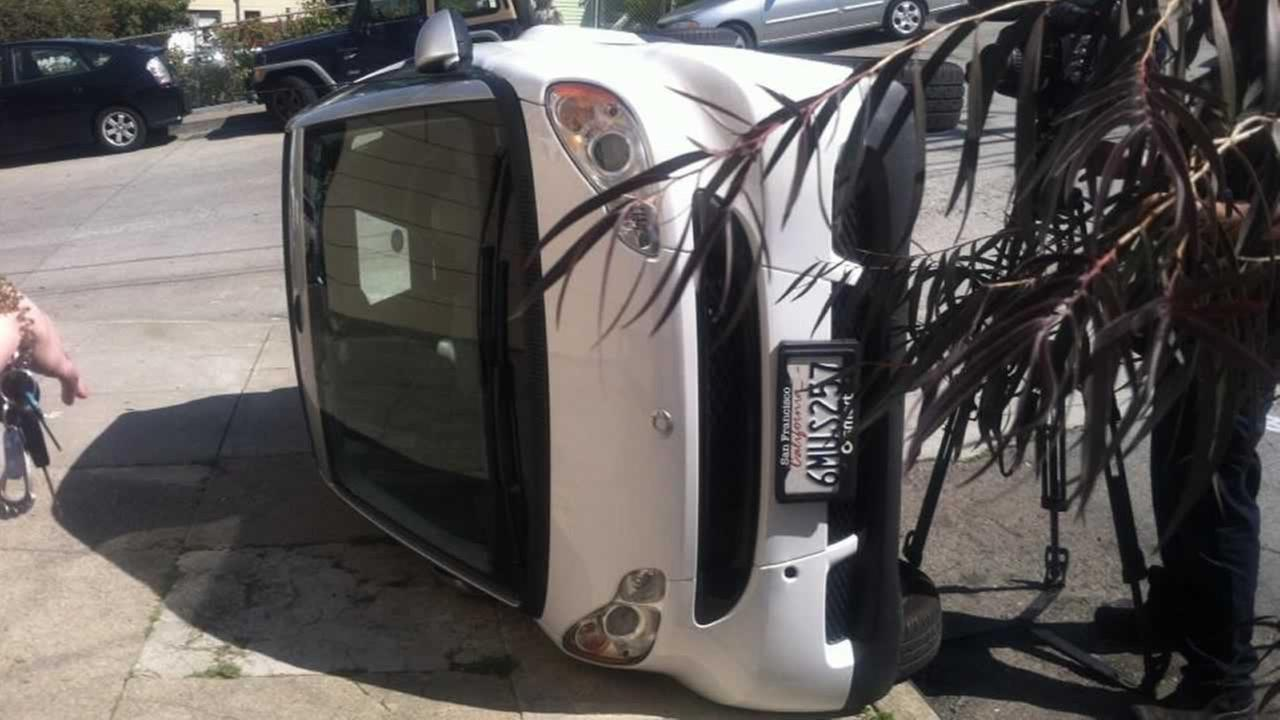 Someone is tipping over Smart cars in San Francisco. In the last 24 hours, four of the lightweight vehicles have been flipped over.