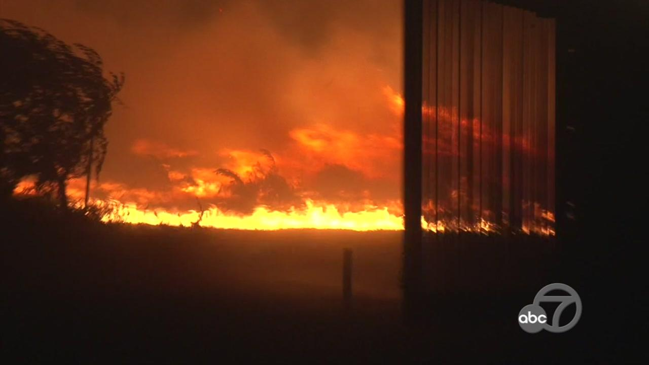 Multiple fires were burning in the Napa and Calistoga areas, forcing residents to evacuate overnight after the fires started on Sunday, October 8, 2017.KGO-TV