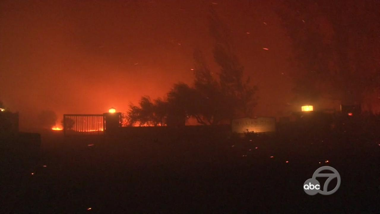 Multiple fires were burning in the Napa and Calistoga areas forcing residents to evacuate overnight after the fires started on Sunday