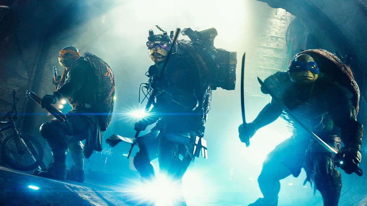 This image released by Paramount Pictures shows characters, from left, Michelangelo, Donatello, and Leonardo in a scene from Teenage Mutant Ninja Turtles. (AP Photo/Paramount Pictures, Industrial Light and Magic)