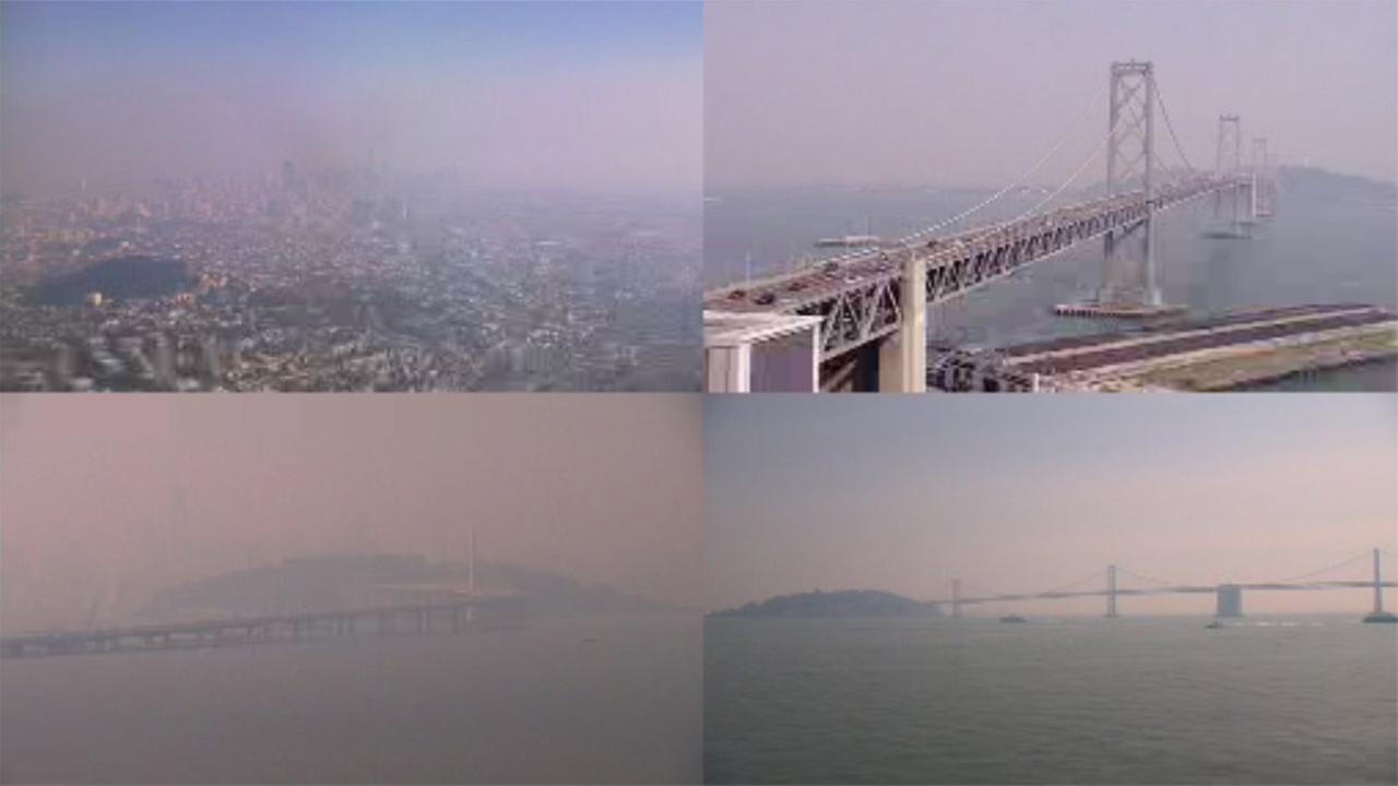 Smoky air seen throughout Bay Area, October 12, 2017.