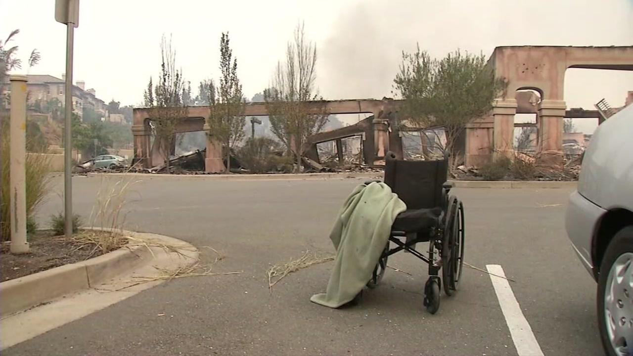 A charred wheelchair appears in the North Bay during a string of fires in October, 2017.