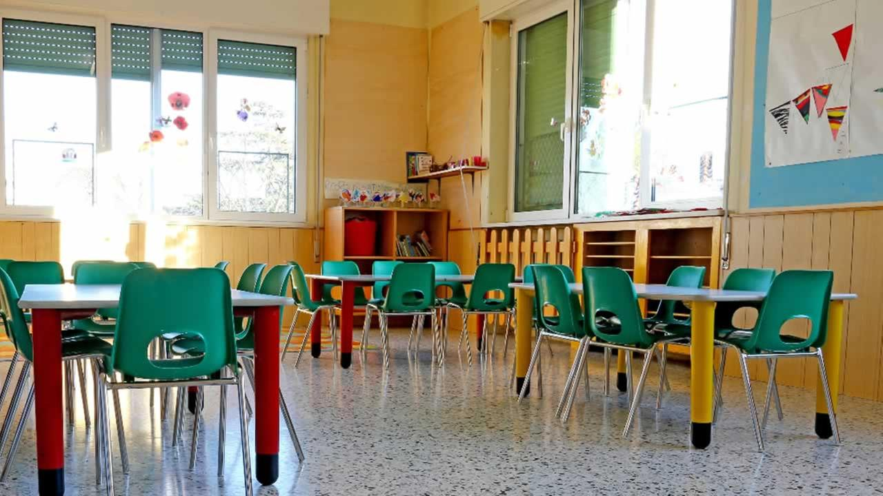 An empty classroom is shown in this undated file photo.