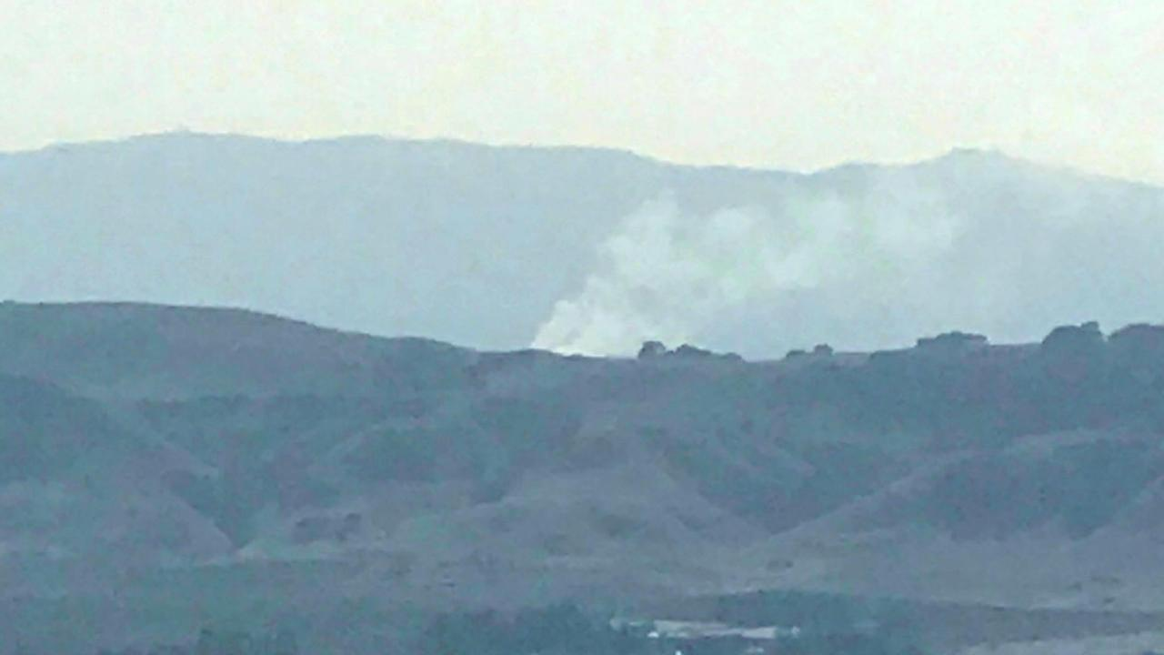 Smoke from a fire in Novato, Calif. is seen on Sunday, October 15, 2017 from the Nuns Fire area.