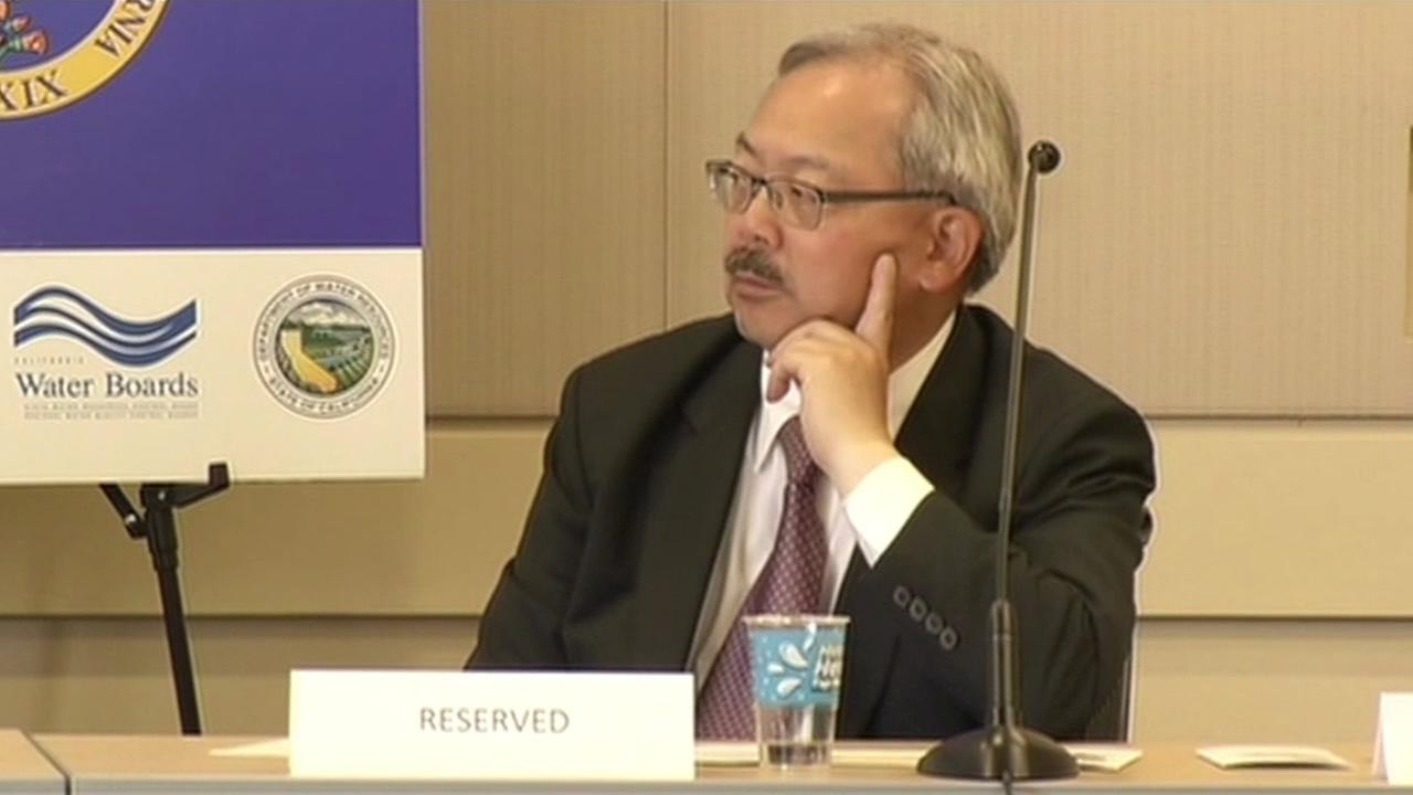 San Francisco Mayor Ed Lee listens during a drought task force meeting.