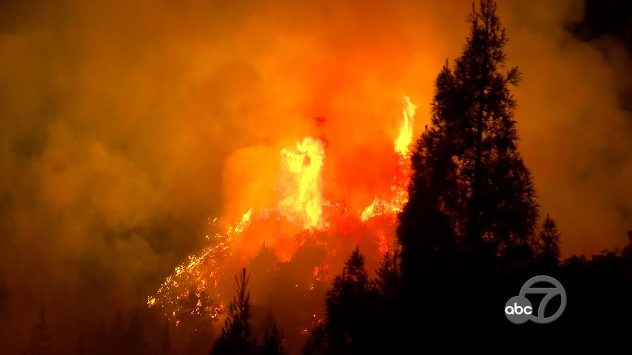 A wildfire is seen burning in Santa Cruz Mountains on Tuesday, October 17, 2017.KGO-TV