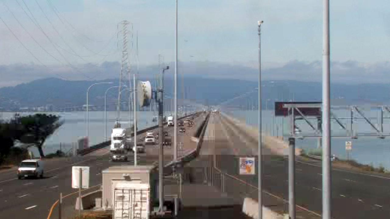 All westbound lanes of the San Mateo Bridge are closed until at least noon due to an accident involving a diesel spill.