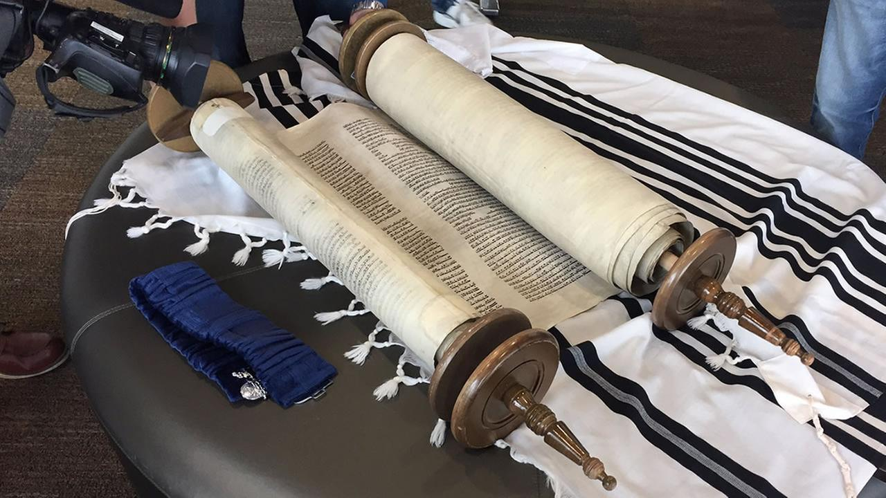 A 200-year-old torah is seen at a synagogue in Foster City, Calif. on Tuesday, Oct. 17, 2017.