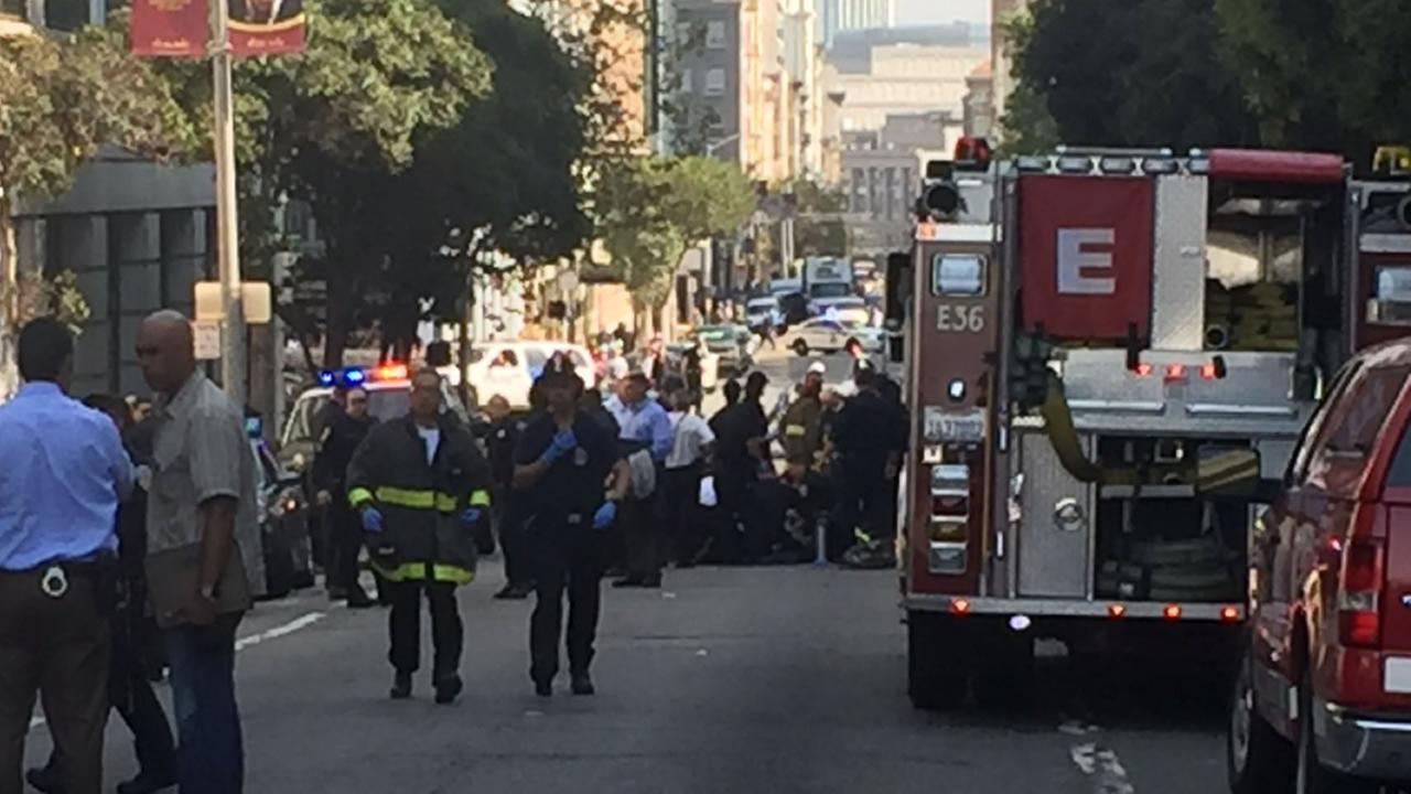 This is an image of the scene where a police officer was hit by a car in San Francisco on Wednesday, October 18, 2017.