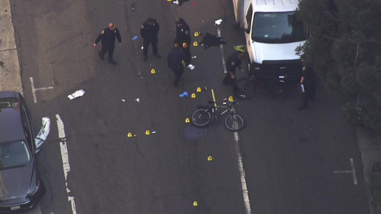 This is an image of the scene where an SFPD bicycle officer was hit by a car on Turk St. in San Francisco, on Wednesday, October 18, 2017
