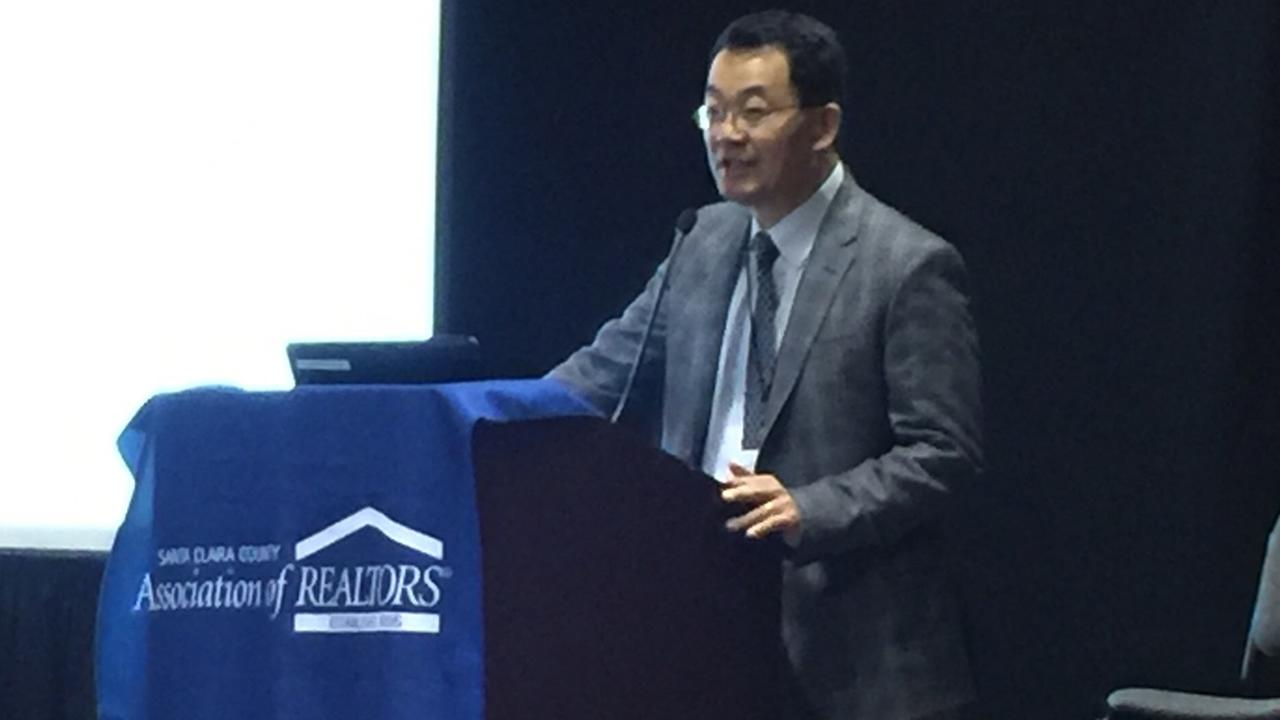 Economist Lawrence Yun speaks at the conference of the Santa Clara County Association of realtors in Santa Clara, Calif. on Thursday, Oct. 29, 2017.