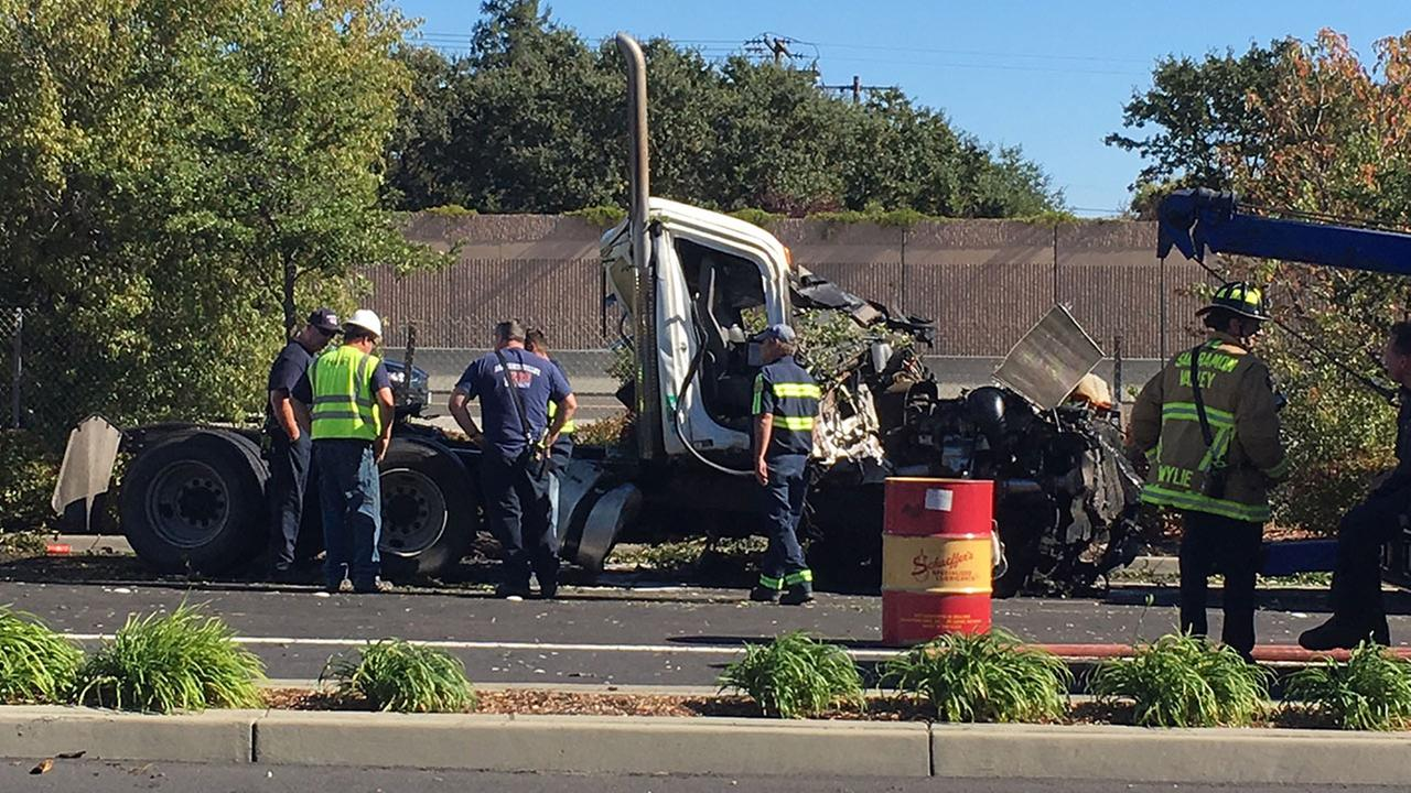 Semi-truck accident in San Ramon, California, October 22, 2017.