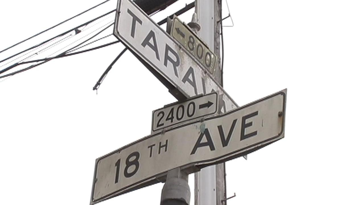 Taraval Street and 18th Avenue Street sign where a carjacking and shooting occured this morning.