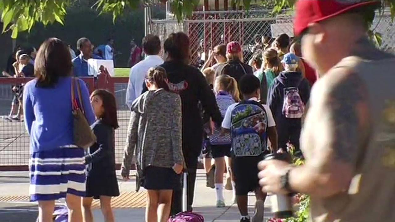 Students crossing a crosswalk near Willow Glen Elementary School in San Jose.