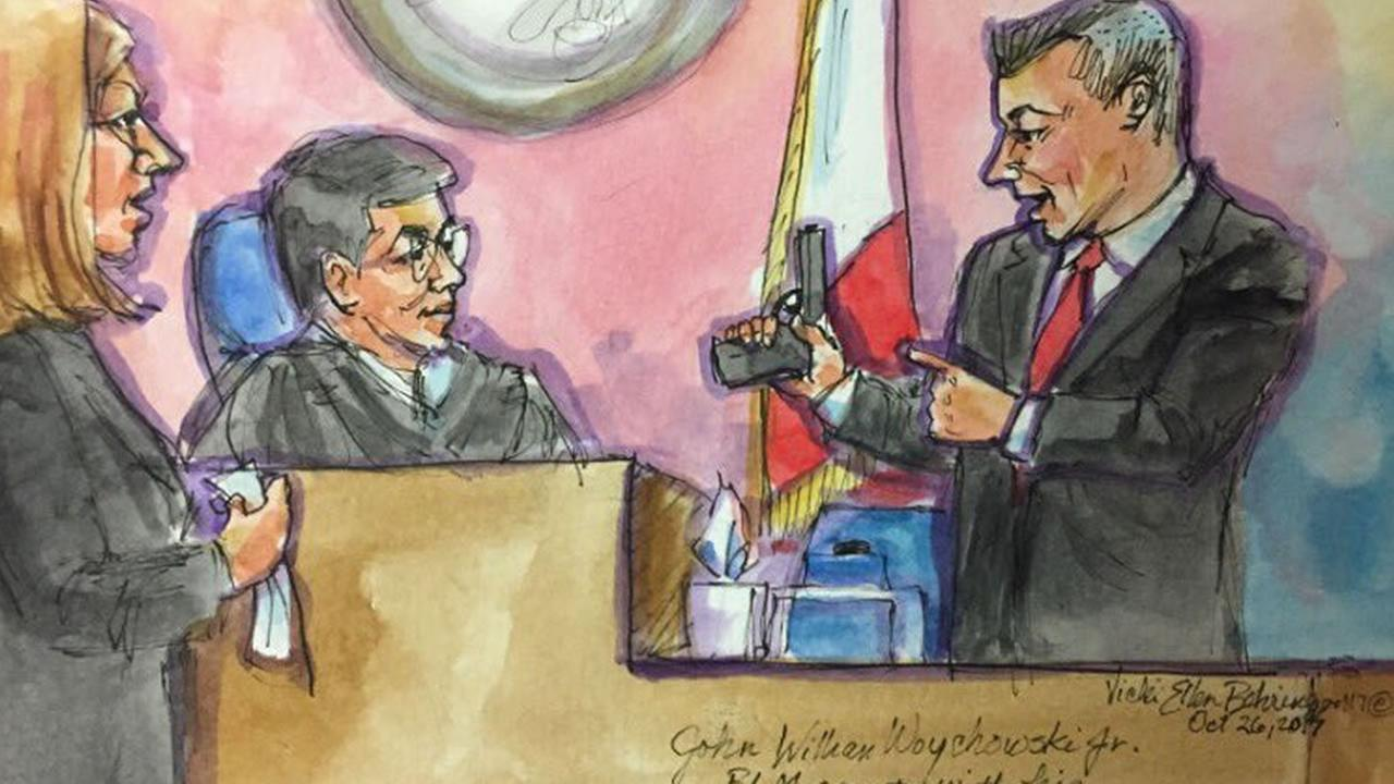 This courtroom sketch shows federal Bureau of Land Management Ranger John Woychowski in San Francisco as he testifies during the Kate Steinle case on Thursday, Oct. 26, 2017.