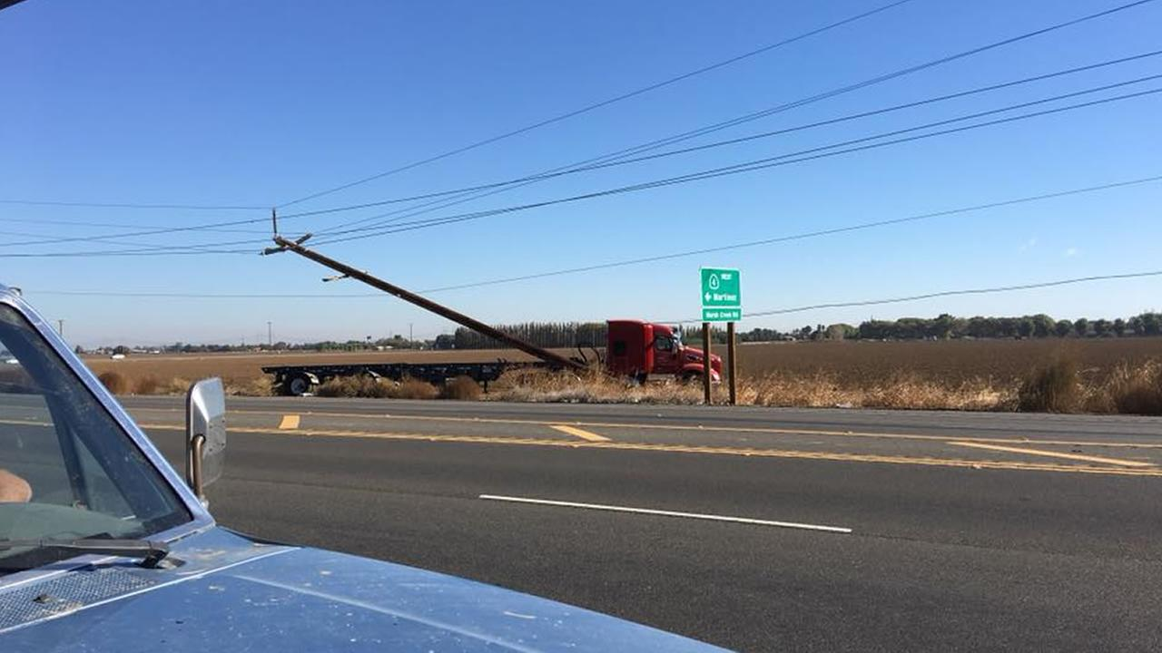Officials say a big rig crash into a power pole in Discovery Bay, Calif. on Oct. 26, 2017 led to a power surge that left hundreds in the dark.