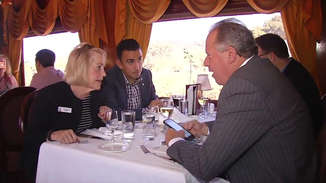 Elected Napa, Calif. officials are seen on the Napa Valley Wine Train on Thursday, Oct. 26, 2017.