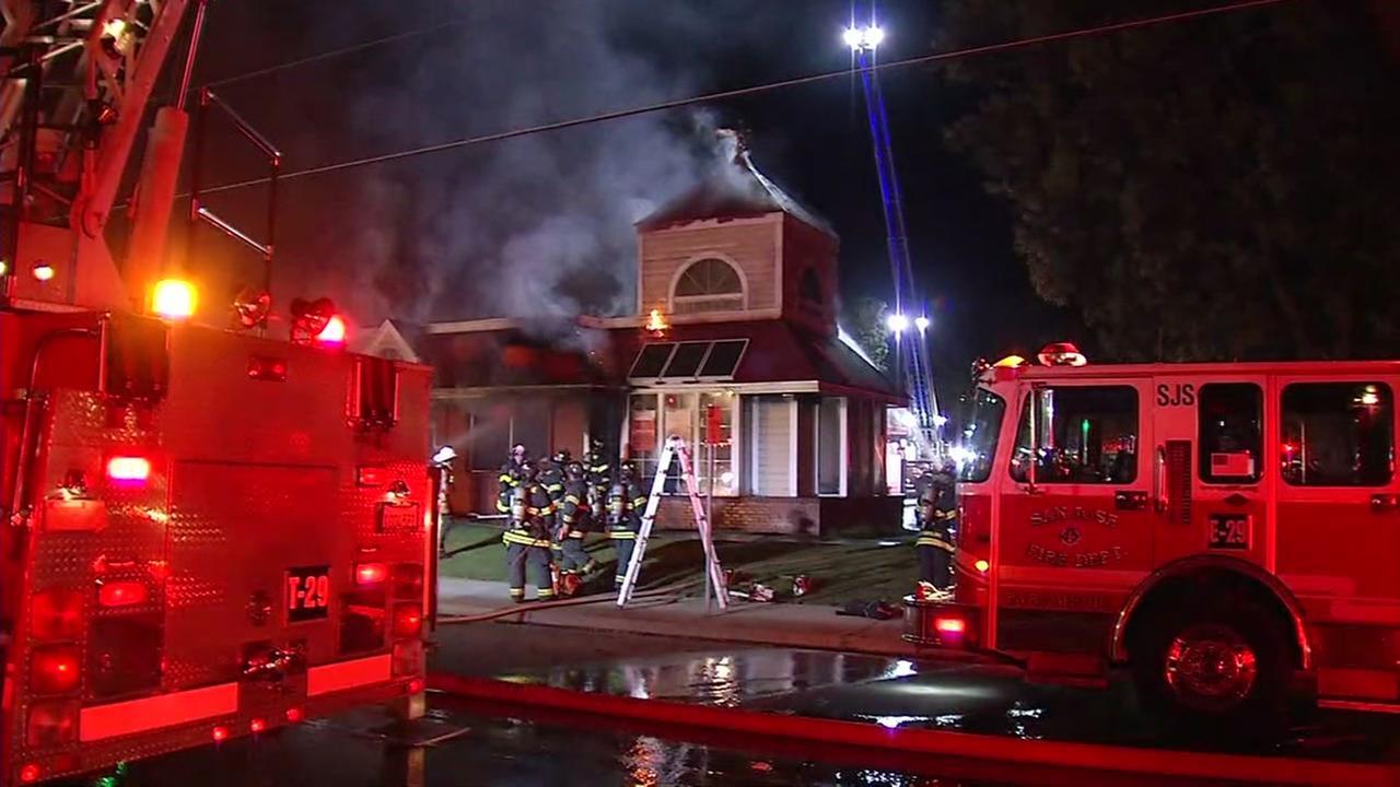 Firefighters battling blaze at KFC restaurant in San Jose, Friday, October 27, 2017.