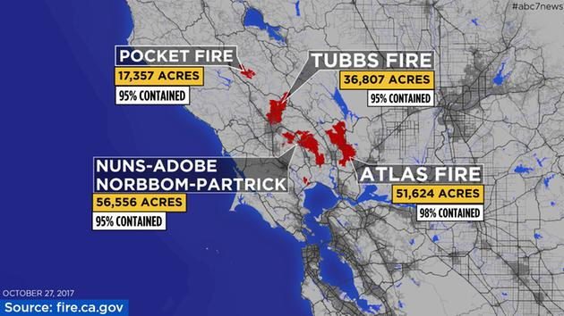 MAPS A Look At Each Fire Burning In The North Bay Abcnewscom - Calfire fire map