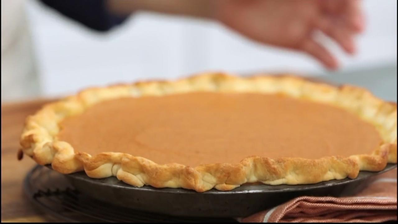 A pumpkin pie is seen in this undated image.