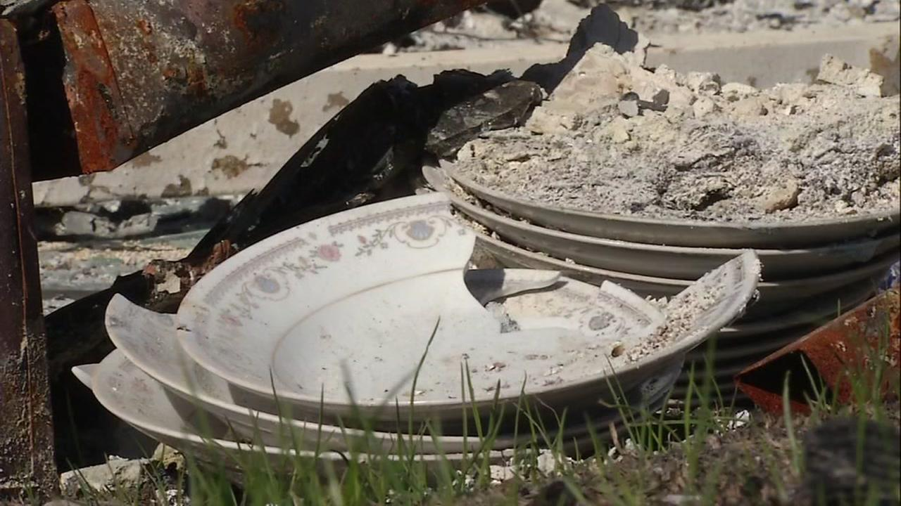 Burnt and broken plates appear in Sonoma County, Calif. on Monday, Oct. 30, 2017.