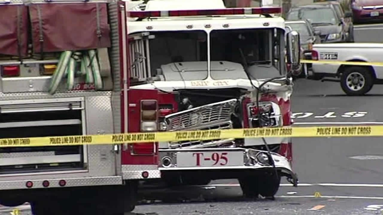 Daly City fire truck smashed up