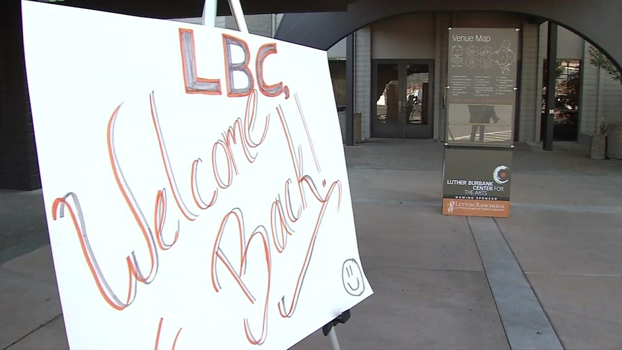A sign welcoming patrons back to the Luther Burbank Center for the Arts appears outside the facility in Santa Rosa.