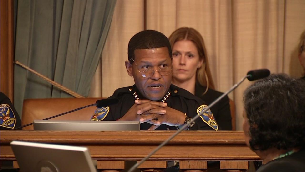 San Francisco Police Chief Bill Scott appears at a meeting discussing the use of tasers for the SFPD on Friday, Nov. 3, 2017.