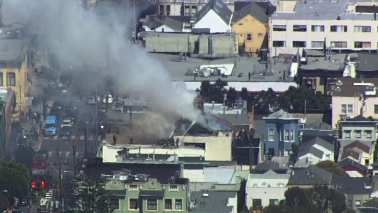 Church fire burning in San Franciscos Mission District.