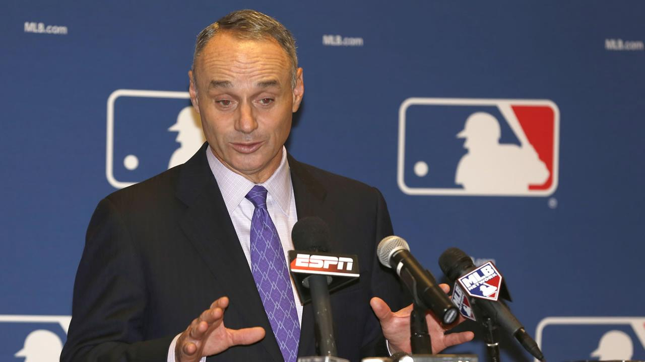 Rob Manfred, Chief Operating Officer of Major League Baseball, talks to the media following baseballs general managers meetings.