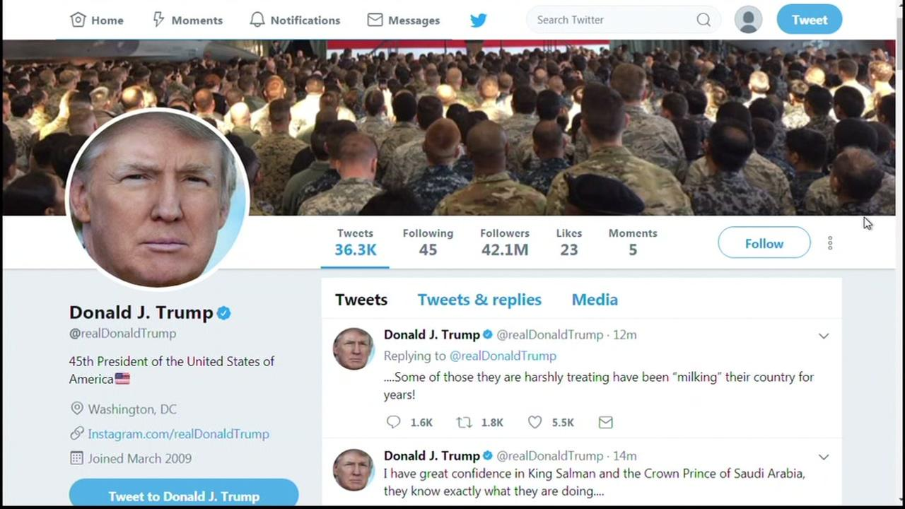 This is an undated screenshot of President Donald Trumps Twitter account.