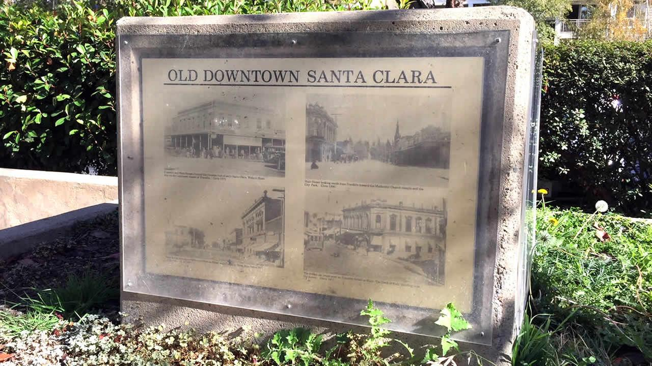 A sign for the old downtown area of Santa Clara, Calif. is seen on Friday, Nov. 10, 2017.