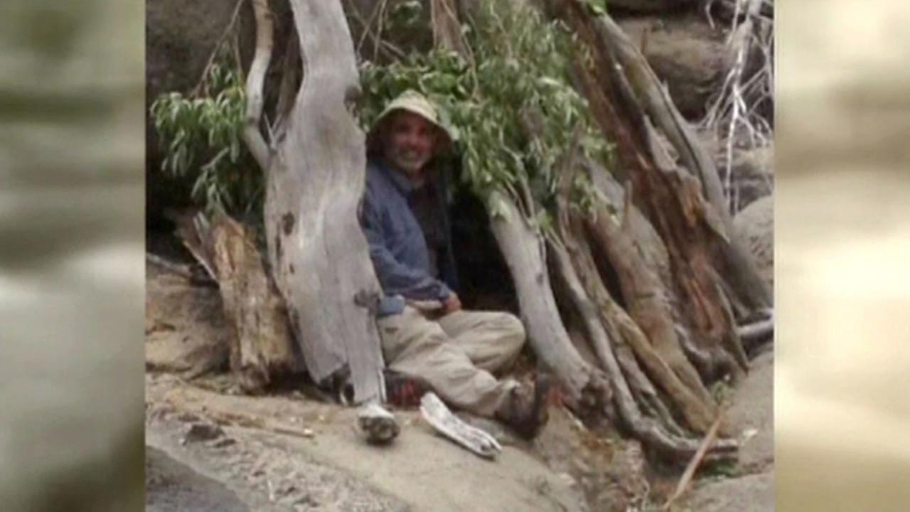 Mike Vilhauer of West Sacramento survived five days lost in the wilderness and built this shelter.