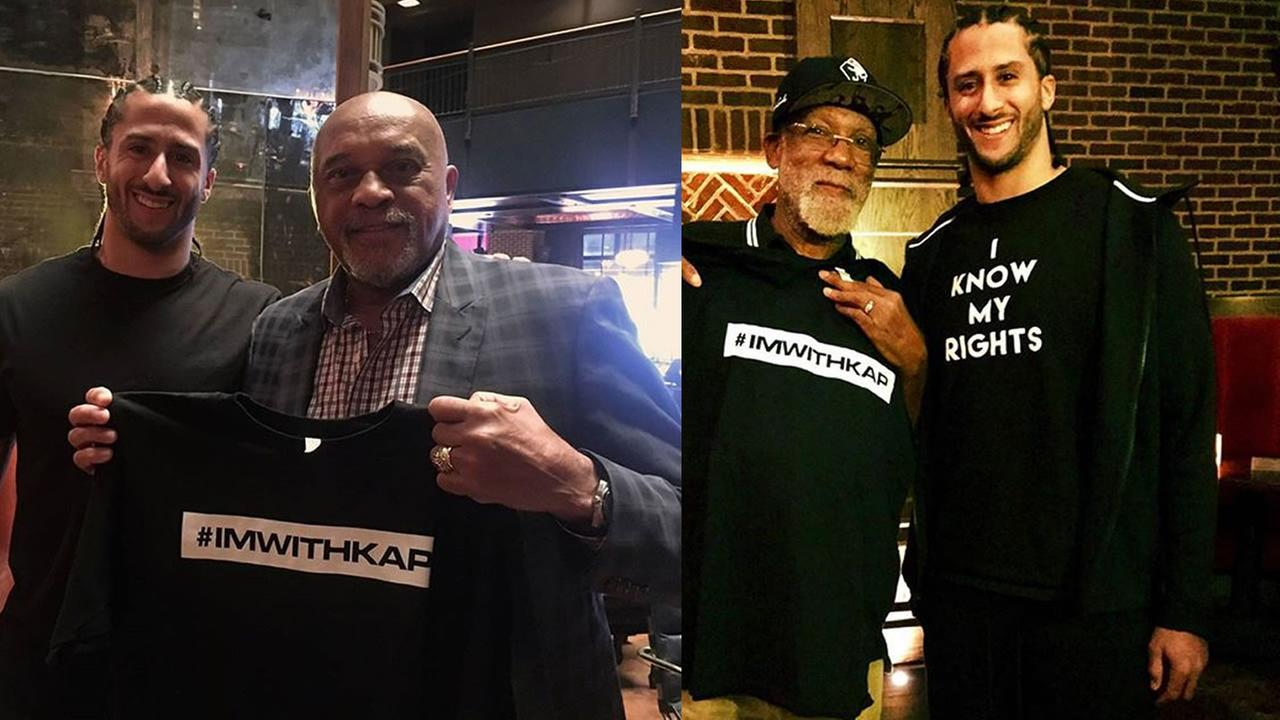 Colin Kaepernick appears with sports legends Tommie Smith and John Carlos on Wednesday, Nov. 15, 2017.