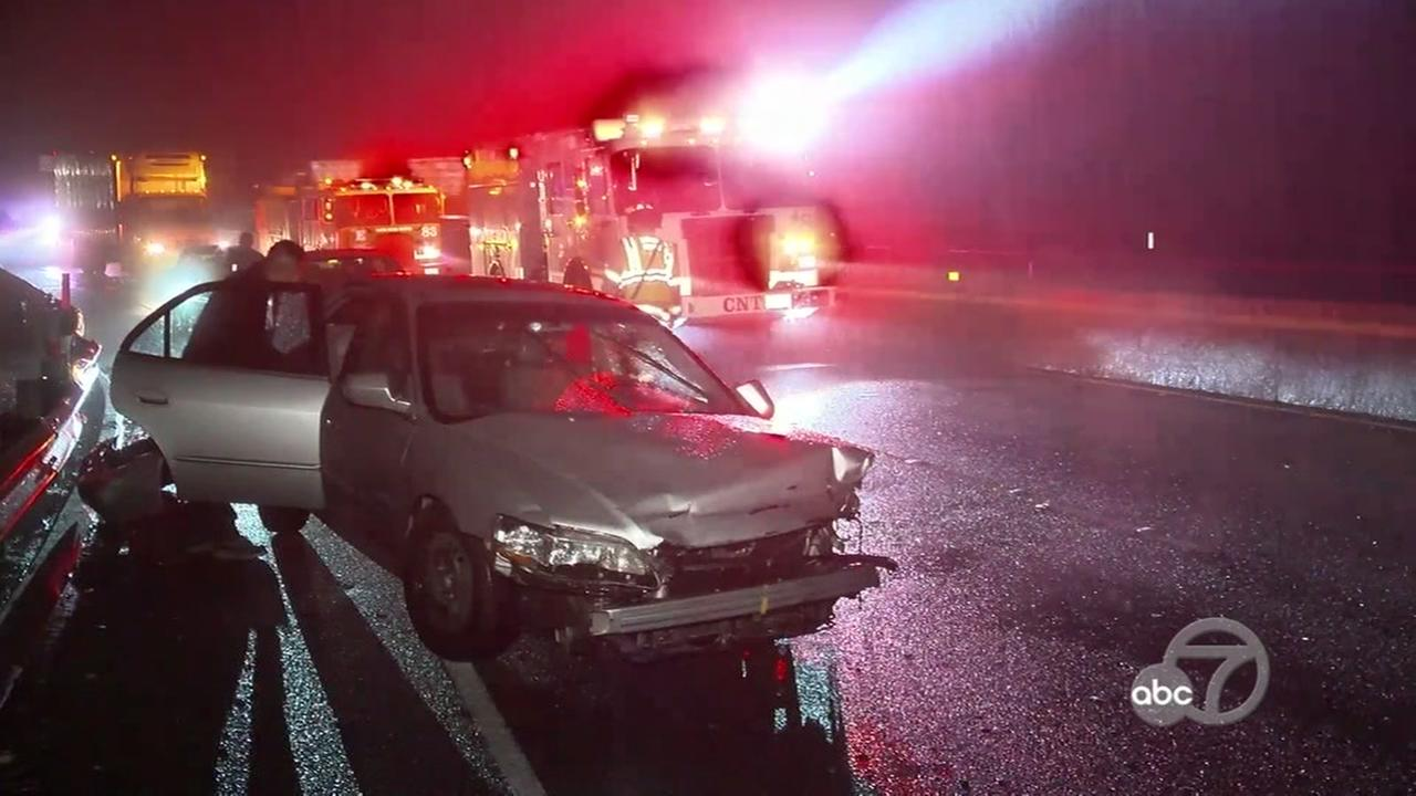 Crash on Highway 17 in Santa Cruz, California, Thursday, November 16, 2017.