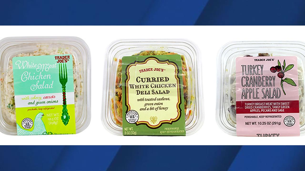 This image shows three types of Trader Joes salad that were recalled on November 18, 2017.