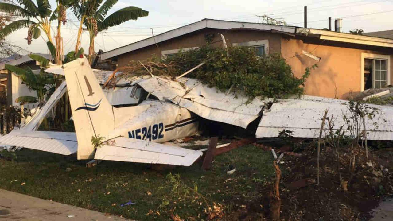 A Cessna is seen after crashing near a home in San Jose, Calif. on Sunday, November 18, 2017.