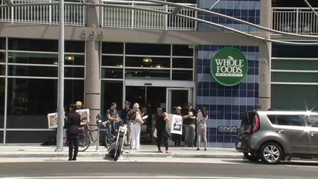 Protesters staged outside 14 Bay Area Whole Foods Markets on Sunday in an effort to save the bunnies.