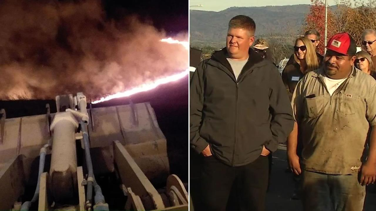 Eli Ponce and Dan Wynn are honored on Saturday, Nov. 18, 2017 for their heroic actions during the North Bay Fires.