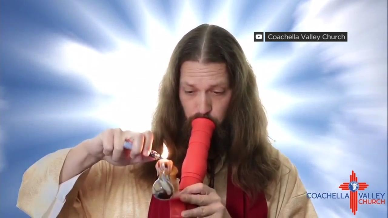 A man acting as Jesus smokes marijuana in a promotional video for the Coachella Valley Church in San Jose, Calif.