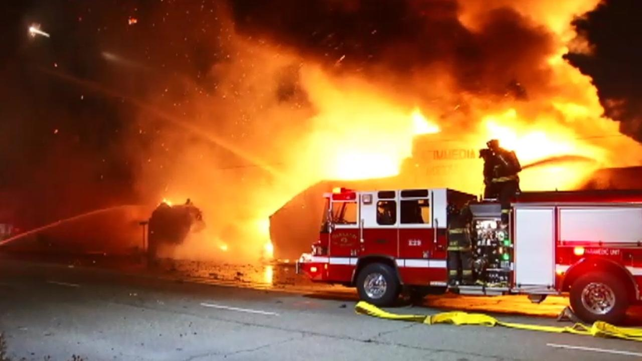 Three-alarm fire in Oakland.