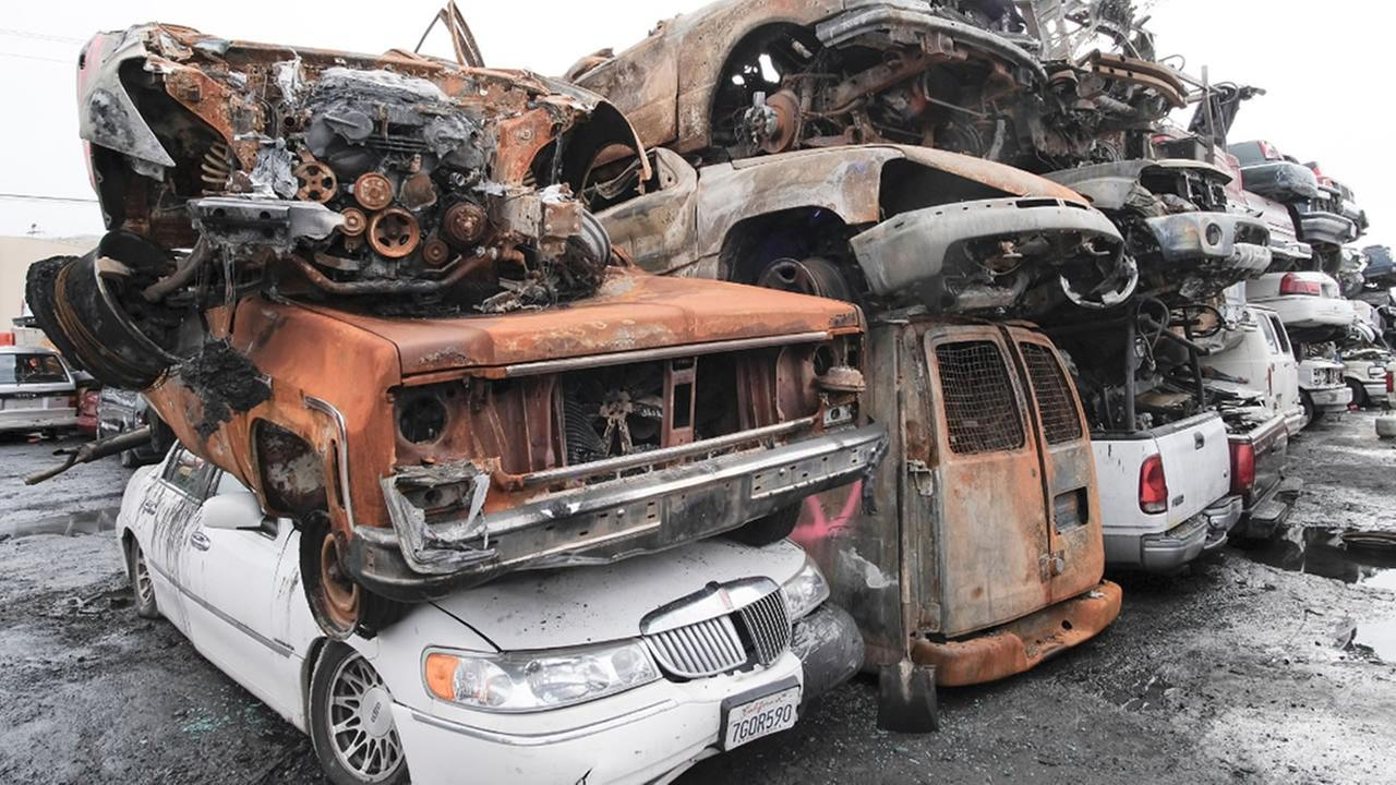 This is an image of destroyed cars at Creams Auto Wrecking of Santa Rosa, Calif. on Wednesday, Nov. 22, 2017.