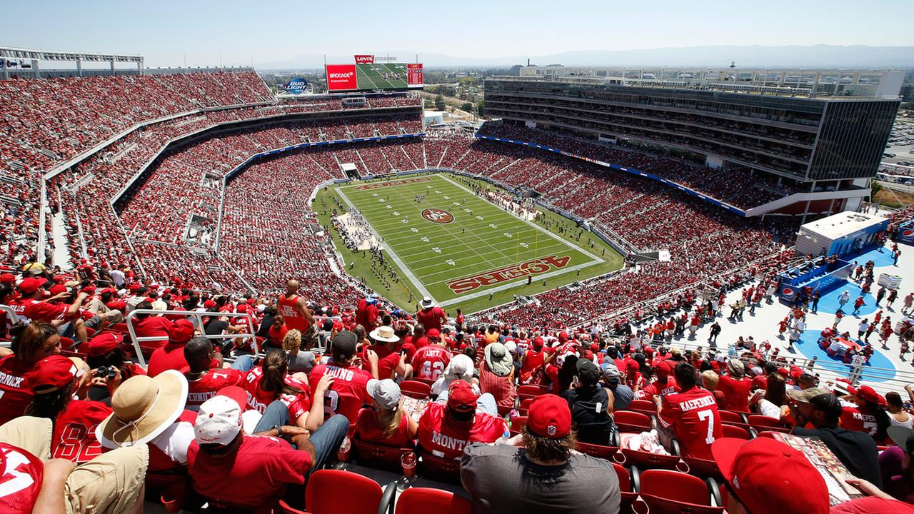 Fans at Levis Stadium watch as the San Francisco 49ers play the Denver Broncos during the first half of an NFL preseason football game in Santa Clara, CA., Sunday, Aug. 17, 2014.