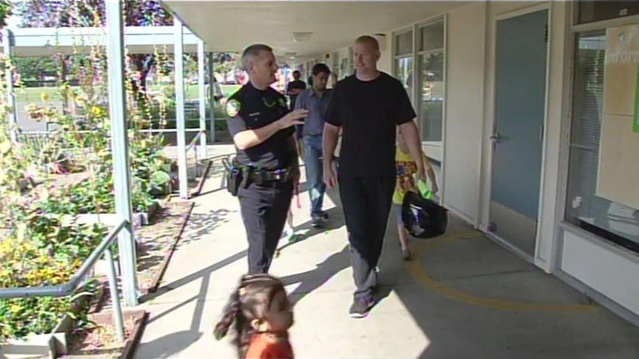 Santa Clara police officers at  John D. Sutter Elementary School