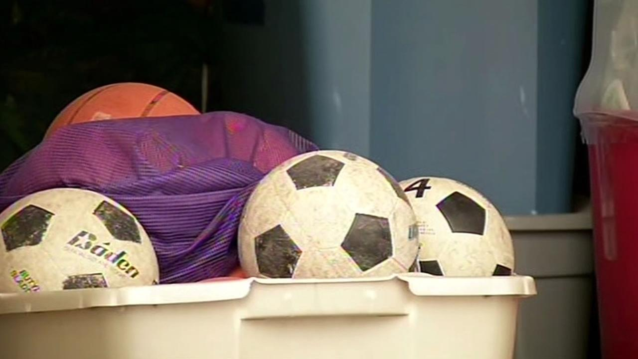 soccer balls, P.E. equipment