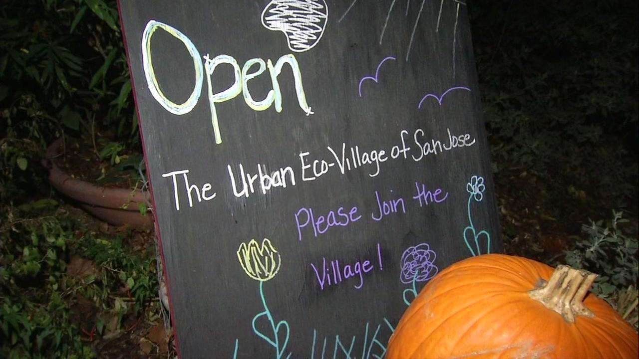The Urban Eco-Village in San Jose, Calif. advertises their events for Giving Tuesday on Monday, Nov. 27, 2017.