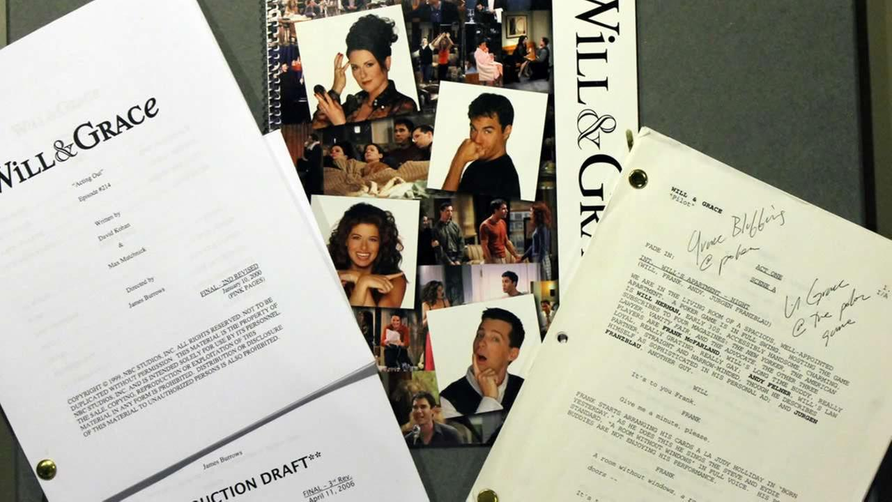 This handout photo shows production scripts and press materials from NBCs Will and Grace program, 2000-2006. (AP Photo/Smithsonian National Museum of American History)