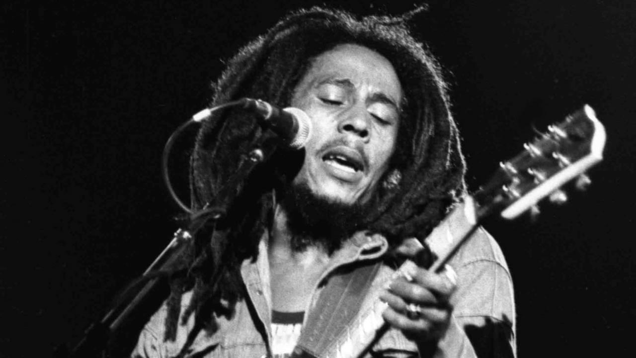 Jamaican Reggae singer Bob Marley performs at a reggae festival concert in Paris.