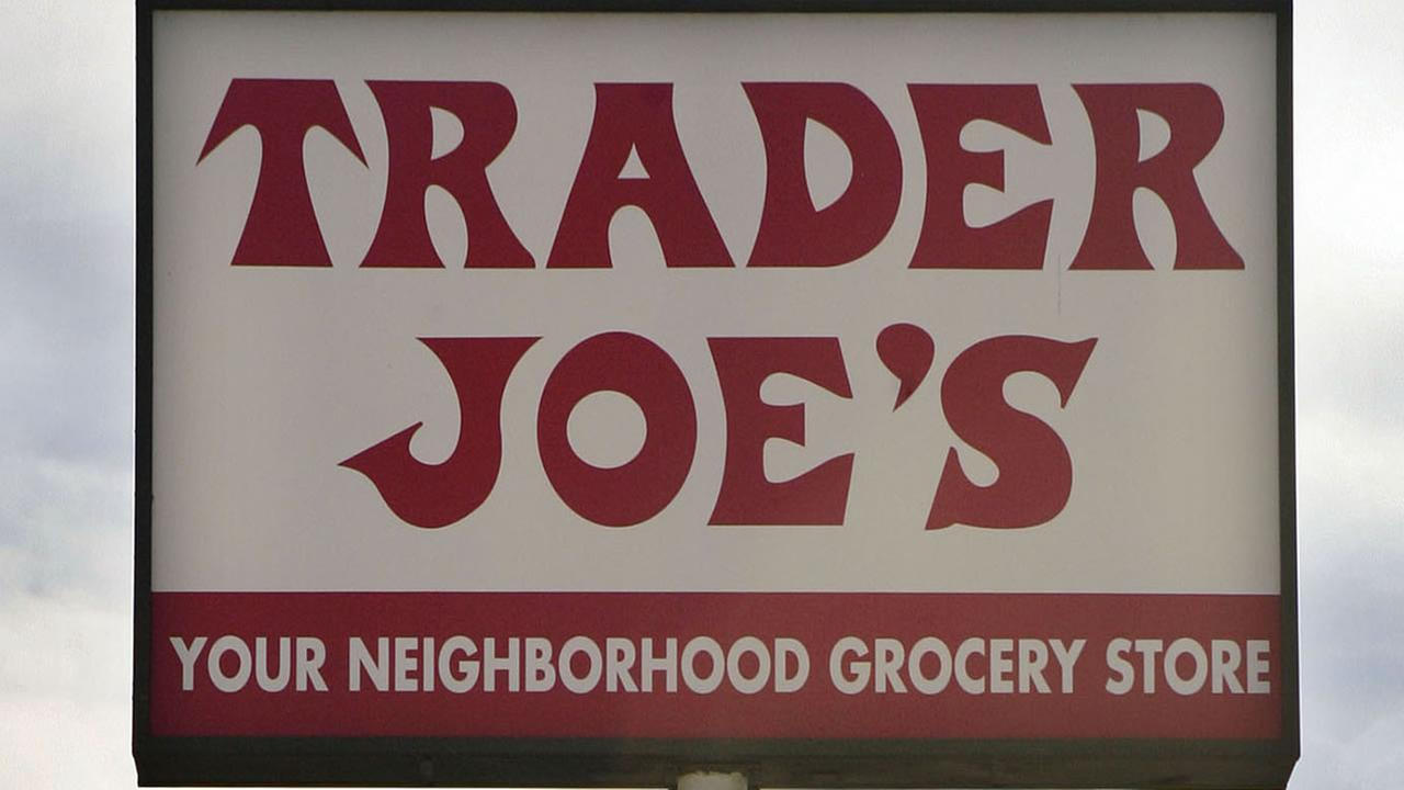This Feb. 11, 2008 file photo shows a Trader Joes sign in Los Angeles. (AP Photos/Ric Francis, File)